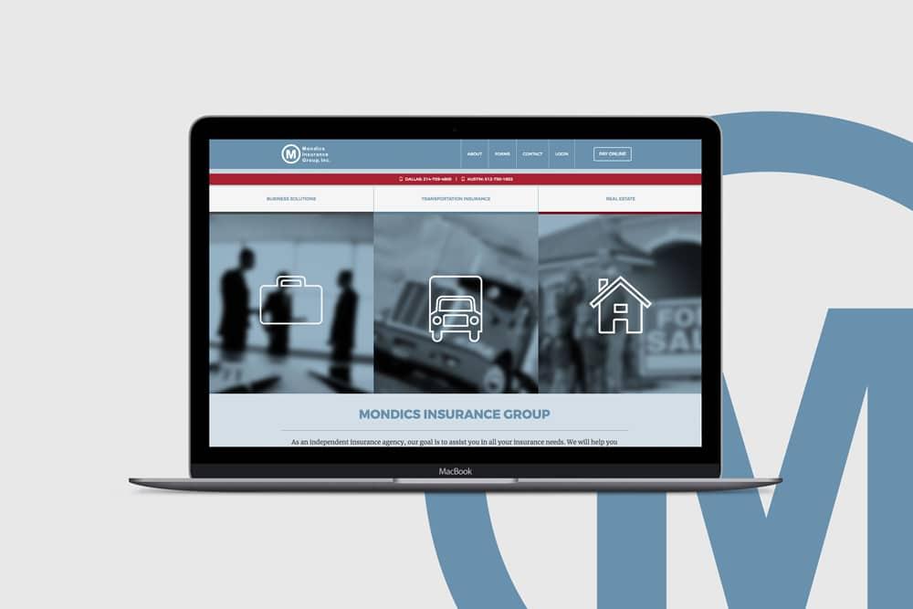 Mondics Insurance, Web Design