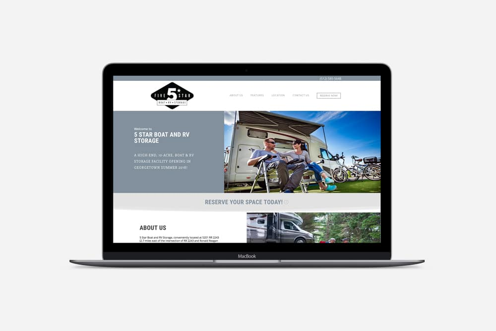 Five Star Boat & RV Storage, Web Design