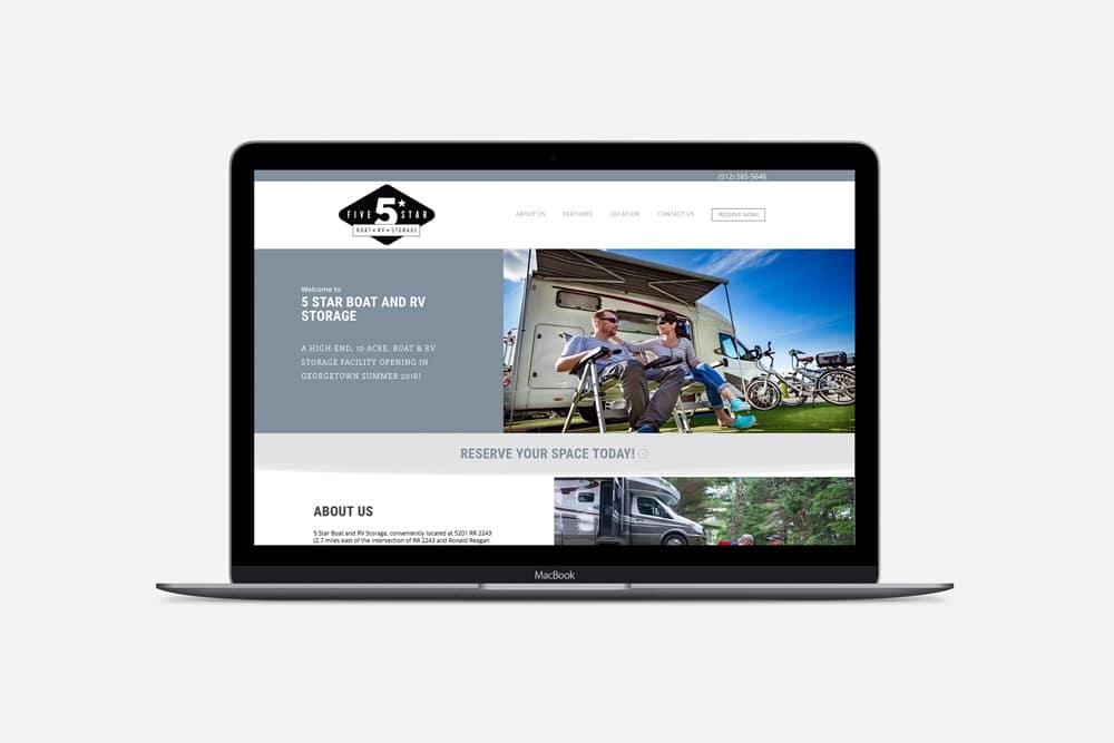 Five Star Boat & RV Storage, Web Design